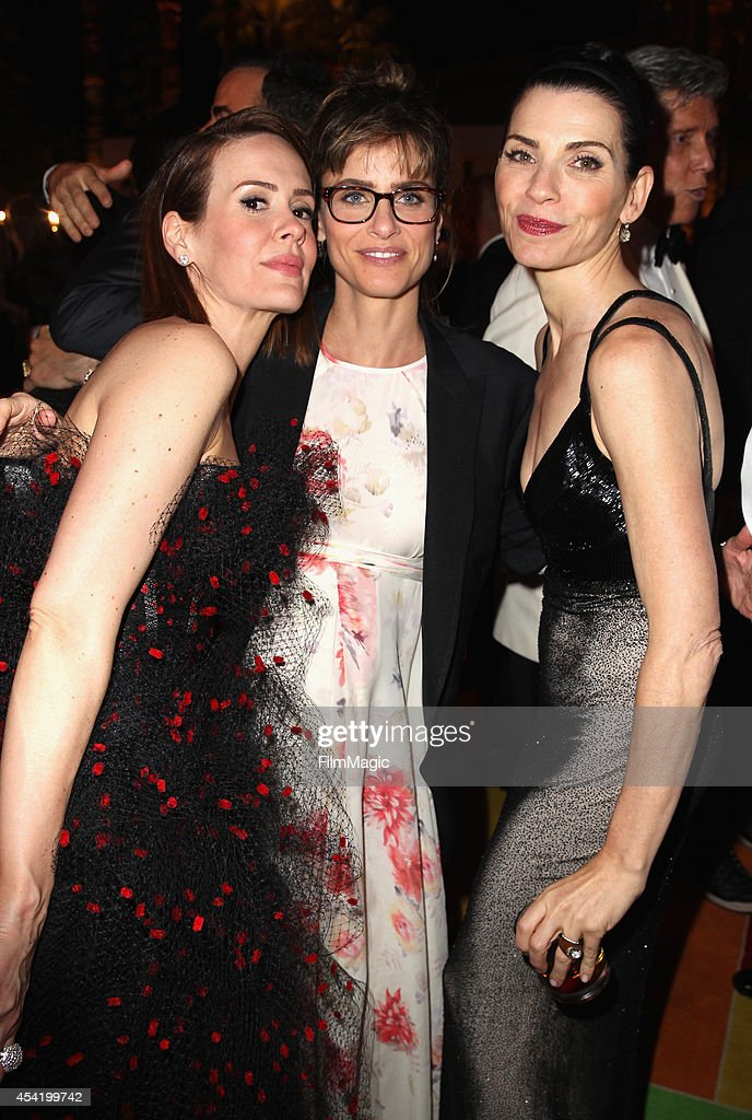 Actresses Sarah Paulson Amanda Peet and Julianna Margulies attend HBO's Official 2014 Emmy After Party at The Plaza at the Pacific Design Center on...