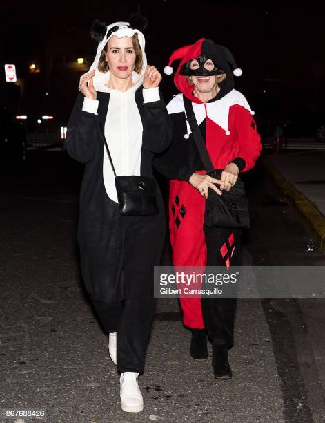 Actresses Sarah Paulson and Holland Taylor are seen arriving at film director M Night Shyamalan's Halloween party 'Shyamaween' on October 28 2017 in...
