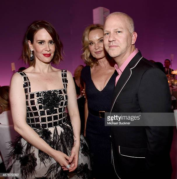 Actresses Sarah Paulson and Jessica Lange and writer/director Ryan Murphy attend ELLE's 21st Annual Women in Hollywood Celebration at the Four...