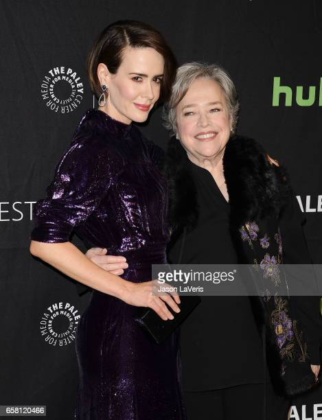 Actresses Sarah Paulson and Kathy Bates attend the 'American Horror Story Roanoke' event at the Paley Center for Media's 34th annual PaleyFest at...