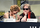 Actresses Sarah Paulson and Kathy Bates speak onstage at the 'American Horror Story' and 'Scream Queens' panel during ComicCon International 2015 at...