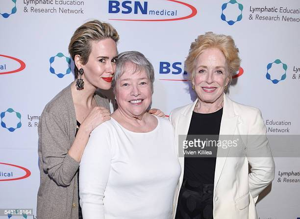 Actresses Sarah Paulson Kathy Bates and Holland Taylor attend Academy AwardWinner Kathy Bates Hosts Reception On Eve Of California Walk To Fight...