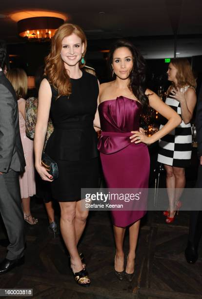 Actresses Sarah Rafferty and Meghan Markle attend the ELLE's Women in Television Celebration at Soho House on January 24 2013 in West Hollywood...