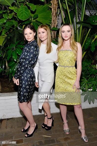 Actresses Sarah Ramos Genevieve Angelson and Kathryn Newton attend ELLE's Annual Women In Television Celebration 2017 at Chateau Marmont on January...
