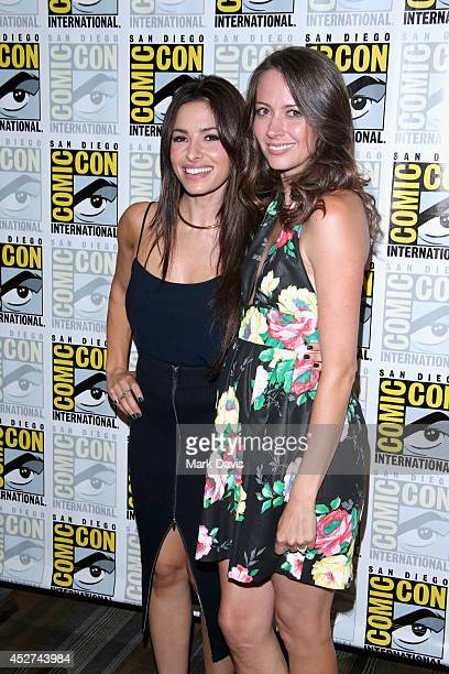 Actresses Sarah Shahi and Amy Acker attend 'Person of Interest' Press Line during ComicCon International 2014 at Hilton Bayfront on July 26 2014 in...