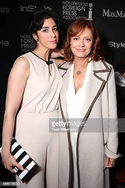 Actresses Sarah Silverman and Susan Sarandon both wearing Max Mara attend Hollywood Foreign Press Association InStyle's annual celebration of The...