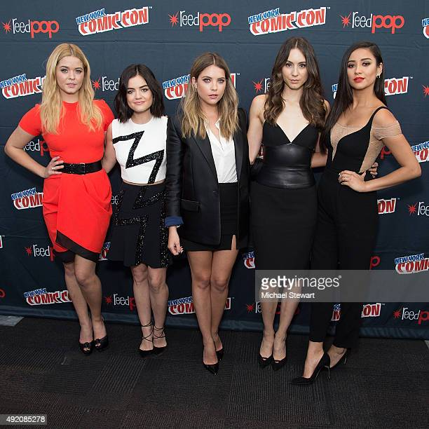 Actresses Sasha Pieterse Lucy Hale Ashley Benson Troian Bellisario and Shay Mitchell pose in the press room for the 'Pretty Little Liars' panel...