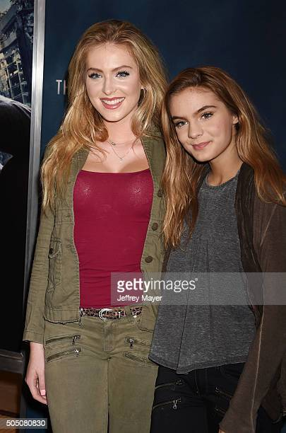 Actresses Saxon Sharbino and Brighton Sharbino arrive at AwesomenessTV Special Fan Screening Of 'The 5th Wave' at Pacific Theatre at The Grove on...