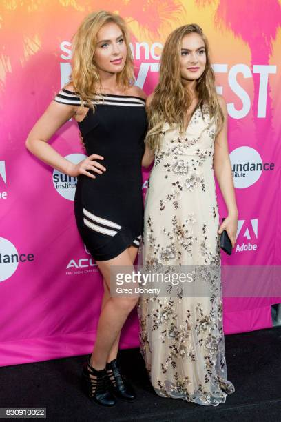 Actresses Saxon Sharbino and Brighton Sharbino arrive for the 2017 Sundance NEXT FEST at The Theater at The Ace Hotel on August 12 2017 in Los...