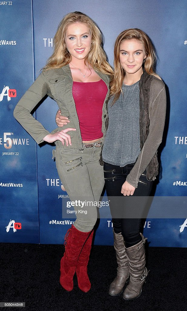 Actresses <a gi-track='captionPersonalityLinkClicked' href=/galleries/search?phrase=Saxon+Sharbino&family=editorial&specificpeople=9710636 ng-click='$event.stopPropagation()'>Saxon Sharbino</a> and <a gi-track='captionPersonalityLinkClicked' href=/galleries/search?phrase=Brighton+Sharbino&family=editorial&specificpeople=10155268 ng-click='$event.stopPropagation()'>Brighton Sharbino</a> attend the Awesomeness TV Special Fan Screening of 'The 5th Wave' at Pacific Theatre at The Grove on January 14, 2016 in Los Angeles, California.