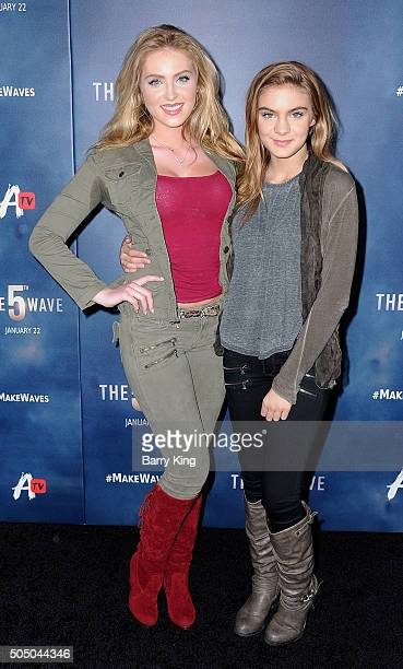 Actresses Saxon Sharbino and Brighton Sharbino attend the Awesomeness TV Special Fan Screening of 'The 5th Wave' at Pacific Theatre at The Grove on...
