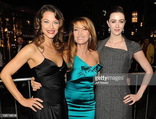 Actresses Scottie Thompson Jane Seymour and Madeline Zima arrive at the Los Angeles premiere of 'Waiting for Forever' held at Pacific Theaters at the...