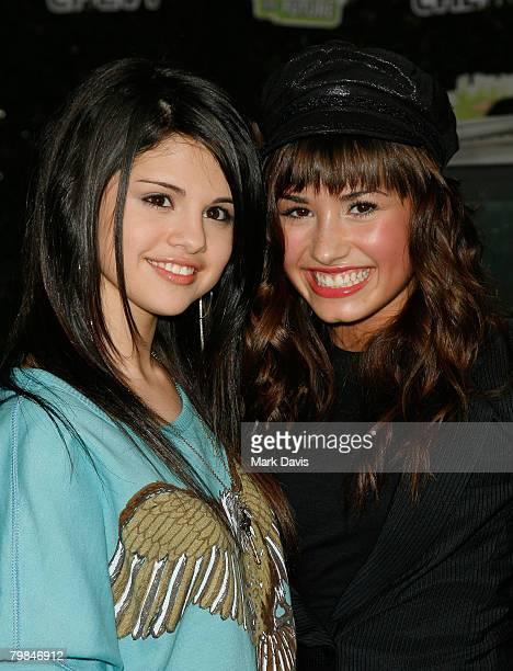 Actresses Selena Gomez and Demi Lovato arrive at Chevy Rocks The Future at the Buena Vista Lot at The Walt Disney Studios February 19 2008 in Burbank...