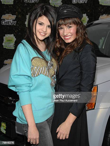 Actresses Selena Gomez and Demi Lovato arrive at 'Chevy Rocks the Future' held at the Walt Disney Studios on February19 2008 in Burbank California