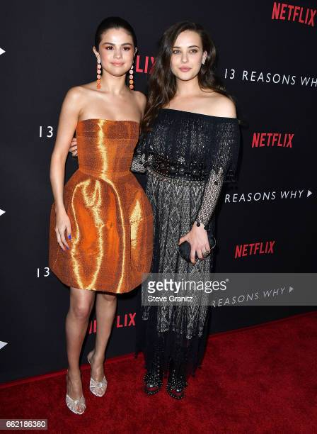Actresses Selena Gomez and Katherine Langford arrives at the Premiere Of Netflix's '13 Reasons Why' at Paramount Pictures on March 30 2017 in Los...