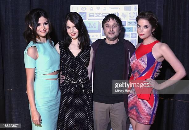 Actresses Selena Gomez and Rachel Korine director Harmony Korine and actress Ashley Benson attend Break It Down Harmony Korine His Spring Breakers...