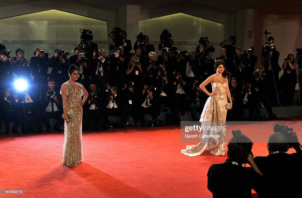 Actresses Selena Gomez (R) and Vanessa Hudgens attend the 'Spring Breakers' Premiere during The 69th Venice Film Festival at the Palazzo del Cinema on September 5, 2012 in Venice, Italy.