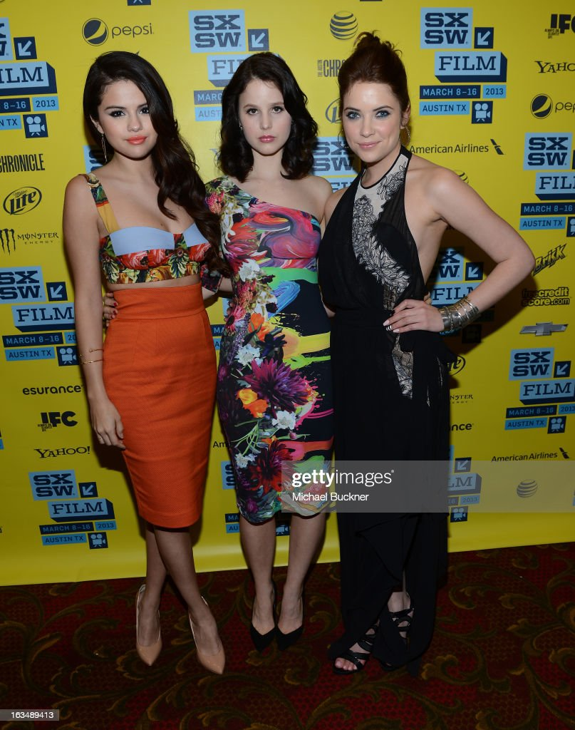 Actresses <a gi-track='captionPersonalityLinkClicked' href=/galleries/search?phrase=Selena+Gomez&family=editorial&specificpeople=4295969 ng-click='$event.stopPropagation()'>Selena Gomez</a>, <a gi-track='captionPersonalityLinkClicked' href=/galleries/search?phrase=Rachel+Korine&family=editorial&specificpeople=4495798 ng-click='$event.stopPropagation()'>Rachel Korine</a> and <a gi-track='captionPersonalityLinkClicked' href=/galleries/search?phrase=Ashley+Benson&family=editorial&specificpeople=594114 ng-click='$event.stopPropagation()'>Ashley Benson</a> attend the green room for 'Spring Breakers' during the 2013 SXSW Music, Film + Interactive Festival' at the Paramount Theatre on March 10, 2013 in Austin, Texas.