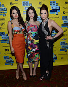 Actresses Selena Gomez Rachel Korine and Ashley Benson attend the green room for 'Spring Breakers' during the 2013 SXSW Music Film Interactive...