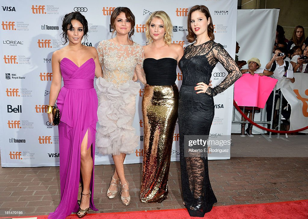 Actresses Selena Gomez, Rachel Korine, Vanessa Hudgens and Ashley Benson attend the'Spring Breakers' premiere during the 2012 Toronto International Film Festival at Ryerson Theatre on September 7, 2012 in Toronto, Canada.