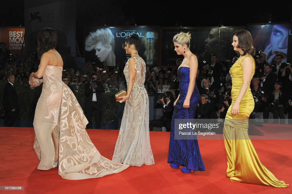 Actresses Selena Gomez, Vanessa Hudgens, Ashley Benson and Rachel Korine attend the 'Spring Breakers' Premiere during The 69th Venice Film Festival at the Palazzo del Cinema on September 5, 2012 in Venice, Italy.