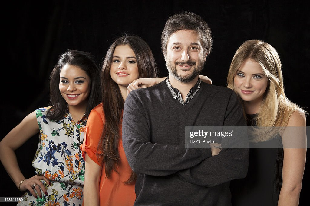 Actresses Selena Gomez, Vanessa Hudgens, Ashley Benson are photographed with the director of their film 'Sprink Breakers', Harmony Korine for Los Angeles Times on February 26, 2013 in Los Angeles, California. PUBLISHED IMAGE.