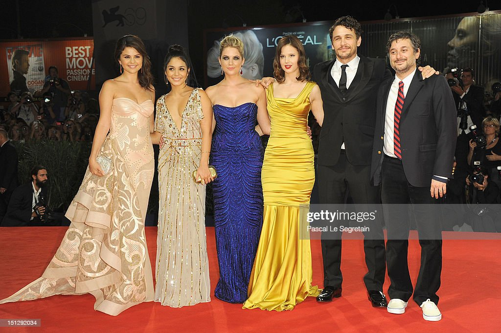 Actresses Selena Gomez, Vanessa Hudgens, Ashley Benson, Rachel Korine with actor James Franco and director Harmony Korine attend the 'Spring Breakers' Premiere during The 69th Venice Film Festival at the Palazzo del Cinema on September 5, 2012 in Venice, Italy.