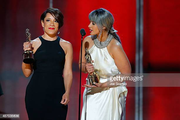 Actresses Selenis Leyva and Dascha Polanco accept the Special Achievement in Television Award on behalf of the cast of 'Orange Is the New Black'...