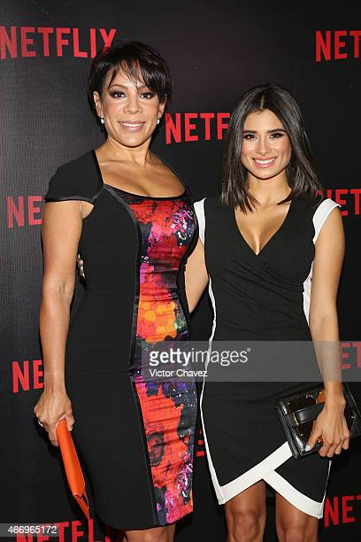 Actresses Selenis Leyva and Diane Guerrero attend the NetFlix Award 2015 at Museo Jumex on March 19 2015 in Mexico City Mexico