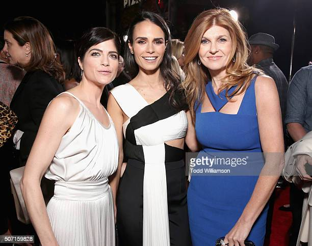 Actresses Selma Blair Jordana Brewster and Connie Britton attend the premiere of 'FX's 'American Crime Story The People V OJ Simpson' at Westwood...