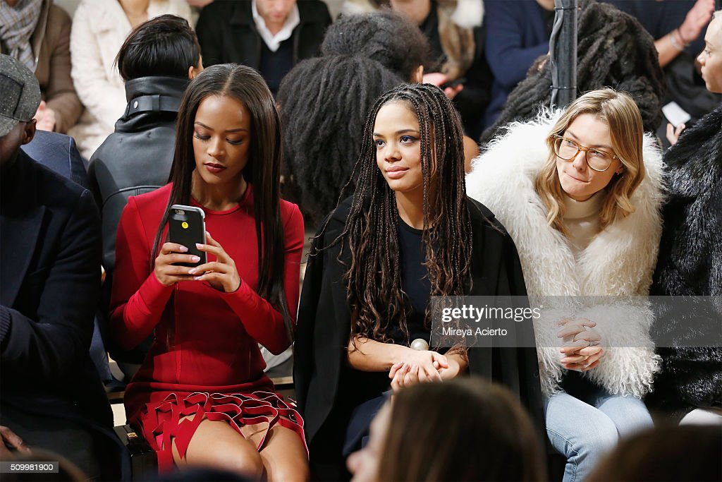 Actresses <a gi-track='captionPersonalityLinkClicked' href=/galleries/search?phrase=Serayah+McNeill&family=editorial&specificpeople=13836114 ng-click='$event.stopPropagation()'>Serayah McNeill</a> and <a gi-track='captionPersonalityLinkClicked' href=/galleries/search?phrase=Tessa+Thompson&family=editorial&specificpeople=808125 ng-click='$event.stopPropagation()'>Tessa Thompson</a> and model <a gi-track='captionPersonalityLinkClicked' href=/galleries/search?phrase=Jessica+Hart&family=editorial&specificpeople=4436555 ng-click='$event.stopPropagation()'>Jessica Hart</a> attend the Dion Lee fashion show during Fall 2016 MADE Fashion Week at Milk Studios on February 13, 2016 in New York City.