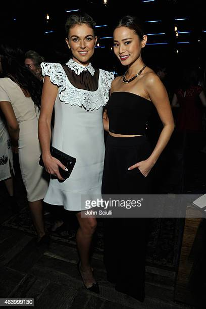 Actresses Serinda Swan and Jamie Chung attend Women In Film PreOscar Cocktail Party presented by MaxMara BMW Tiffany Co MAC Cosmetics and...