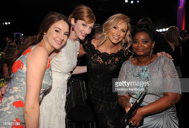 Actresses Shailene Woodley Judy Greer Stacy Keibler and Octavia Spencer attend The 18th Annual Screen Actors Guild Awards broadcast on TNT/TBS at The...