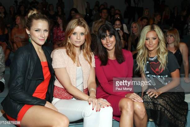 Actresses Shantel VanSanten Joanna Garcia JamieLynn Sigler Ashley Tisdale attend the Luca Luca Spring 2012 fashion show during MercedesBenz Fashion...