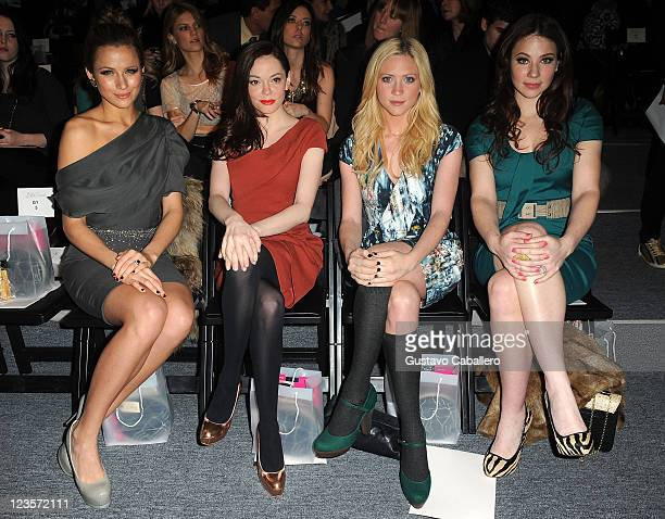 Actresses Shantel VanSanten Rose McGowan Brittany Snow and Lynn Collins attend the Lela Rose Fall 2011 fashion show during MercedesBenz Fashion Week...