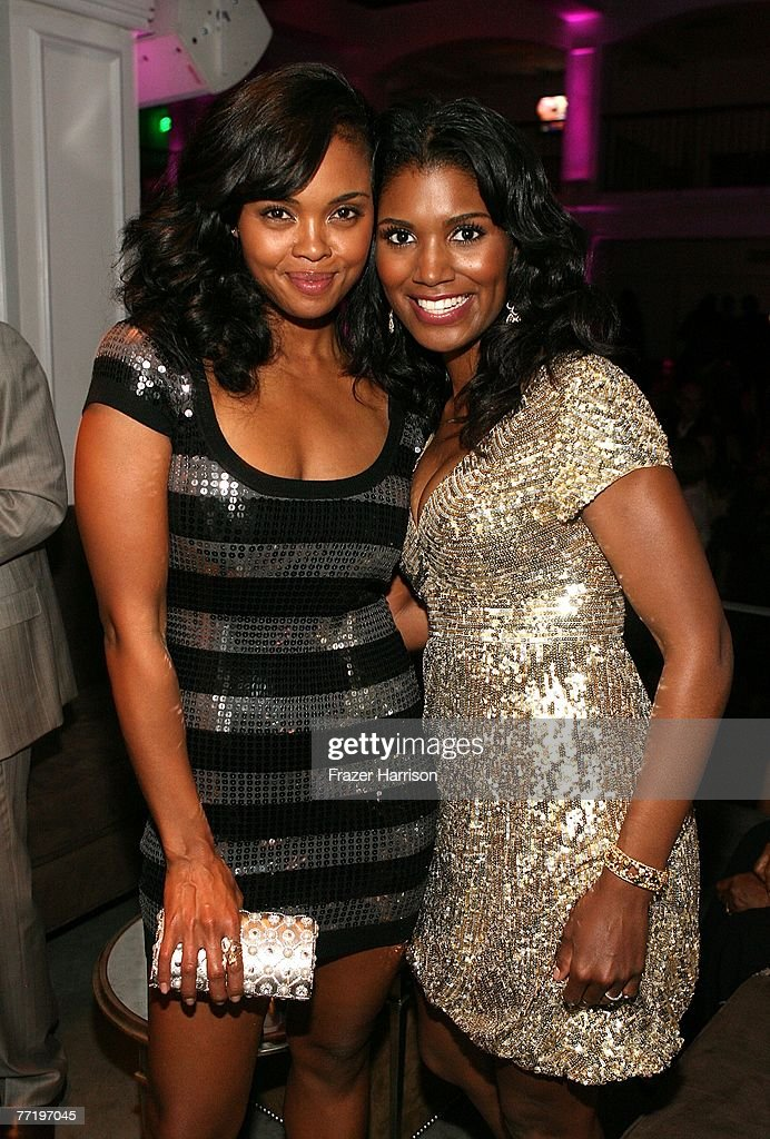 Actresses Sharon Leal and Denise Boutte pose at Lionsgate's Premiere Of 'Why Did I Get Married?' after party held at Boulevard 3 on October 4, 2007 in Los Angeles, California.