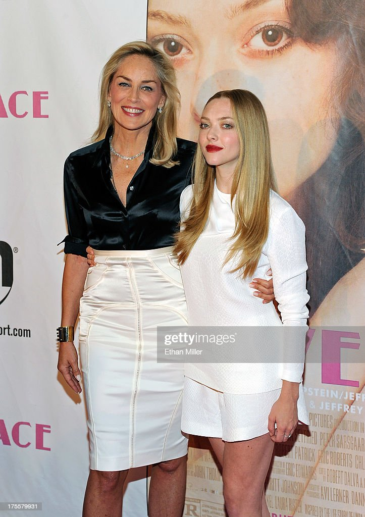 Actresses <a gi-track='captionPersonalityLinkClicked' href=/galleries/search?phrase=Sharon+Stone&family=editorial&specificpeople=156409 ng-click='$event.stopPropagation()'>Sharon Stone</a> (L) and <a gi-track='captionPersonalityLinkClicked' href=/galleries/search?phrase=Amanda+Seyfried&family=editorial&specificpeople=216619 ng-click='$event.stopPropagation()'>Amanda Seyfried</a> arrive at the Las Vegas premiere of the movie 'Lovelace' at Planet Hollywood Resort & Casino on August 4, 2013 in Las Vegas, Nevada.