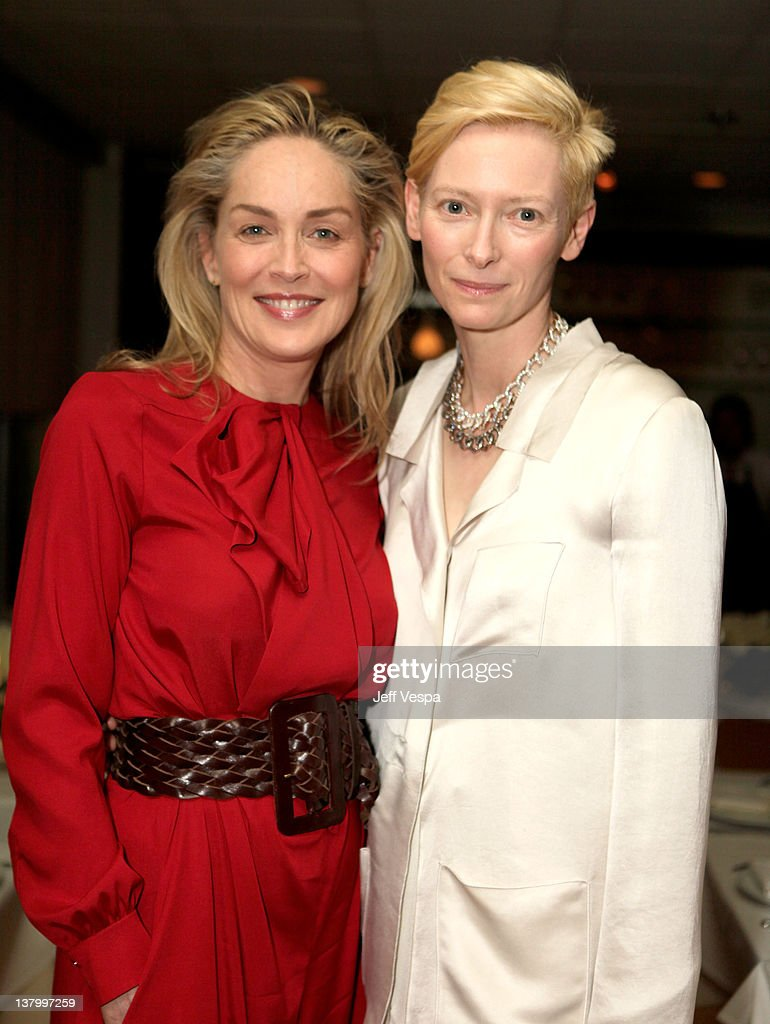 Actresses Sharon Stone and Tilda Swinton attend an intimate dinner to celebrate the opening of Pomellato's Rodeo Drive boutique hosted by Pomellato and MOCA held at E. Baldi on January 30, 2012 in Beverly Hills, California.