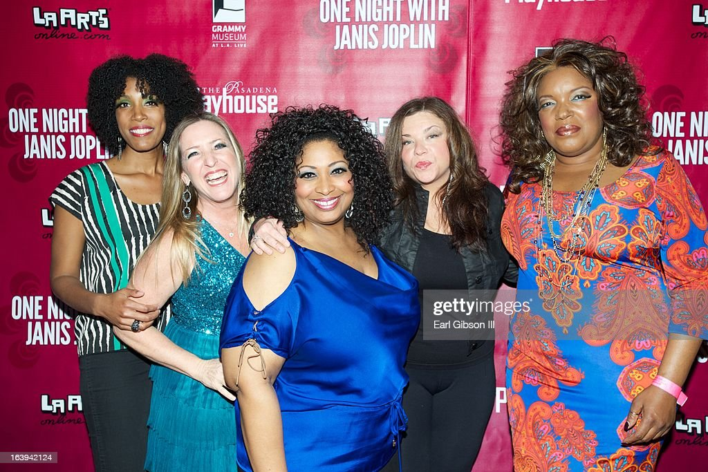 Actresses Shay Saint-Victor, Tricia Kelly, Kimberly Yarbrough, Mary Bridget Davis and Sabrina Elayne Carten pose for a photo on the Opening Night Performance of 'One Night With Janis Joplin' at Pasadena Playhouse on March 17, 2013 in Pasadena, California.