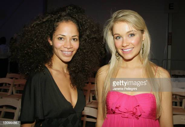 Actresses Sherri Saum and Katrina Bowden attend Joanna Mastroianni Fall 2008 during the MercedesBenz Fashion Week at The Salon Bryant Park on...