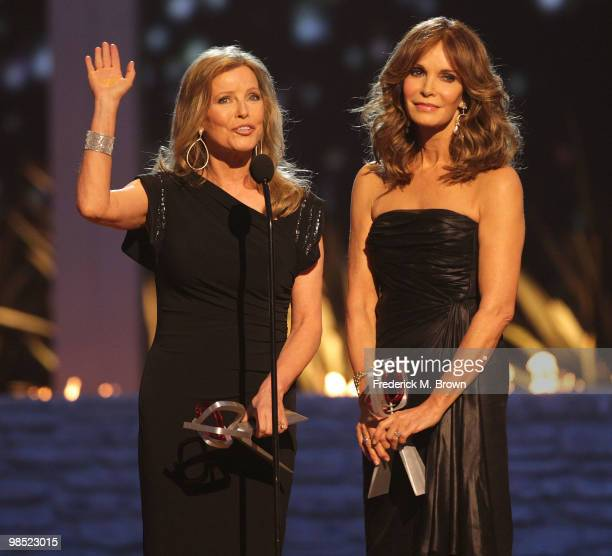 Actresses Sheryl Ladd and Jaclyn Smith speak during the Eighth annual TV Land Awards on April 17 2010 in Culver City California