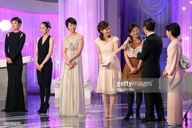 Actresses Shinobu Terajima Eri Fukatsu Takako Matsu Hiroko Yakushimaru and Sayuri Yoshinaga attend the 34th Japan Academy Awards at Grand Prince...