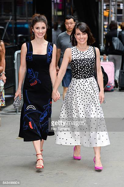 Actresses Shiri Appleby and Constance Zimmer leave the 'Good Morning America' taping at the ABC Times Square Studios on June 28 2016 in New York City