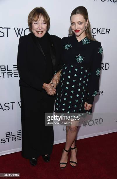Actresses Shirley MacLaine and Amanda Seyfried arrive at the premiere of Bleecker Street Media's 'The Last Word' at ArcLight Hollywood on March 1...