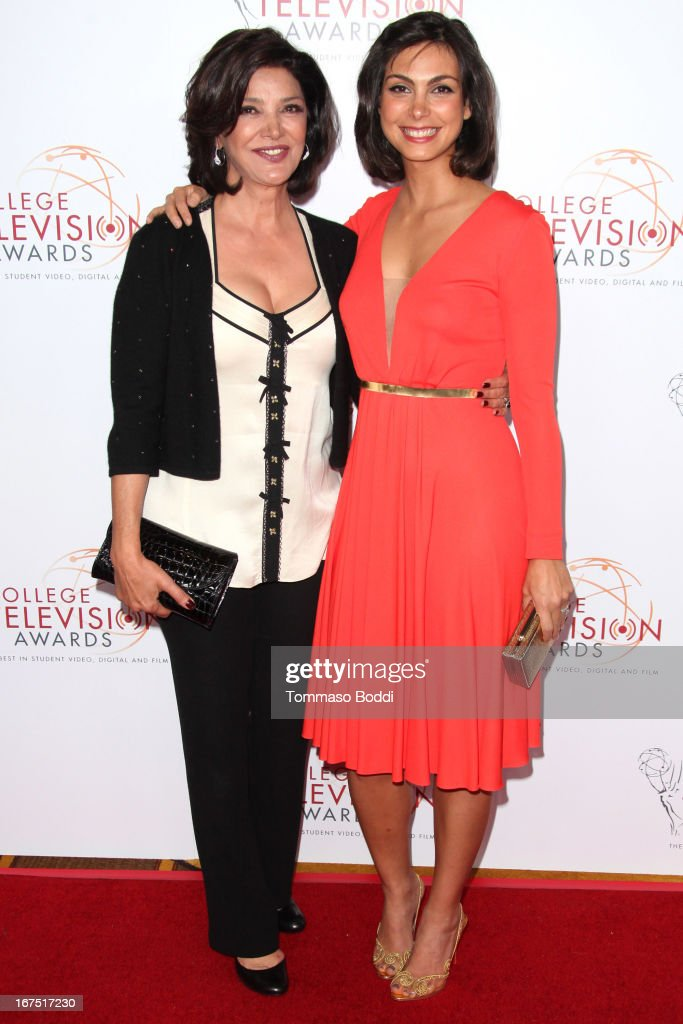 Actresses <a gi-track='captionPersonalityLinkClicked' href=/galleries/search?phrase=Shohreh+Aghdashloo&family=editorial&specificpeople=210536 ng-click='$event.stopPropagation()'>Shohreh Aghdashloo</a> (L) and <a gi-track='captionPersonalityLinkClicked' href=/galleries/search?phrase=Morena+Baccarin&family=editorial&specificpeople=812774 ng-click='$event.stopPropagation()'>Morena Baccarin</a> attend the 34th College Television Awards Gala held at the JW Marriott Los Angeles at L.A. LIVE on April 25, 2013 in Los Angeles, California.