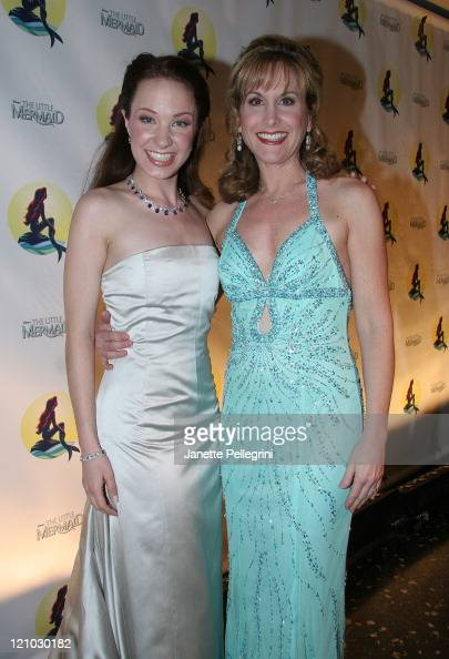 Actresses Sierra Boggess Broadway's Ariel and Jodi Benson the voice of Ariel in 1989 film attend the After Party of 'The Little Mermaid' at Roseland...