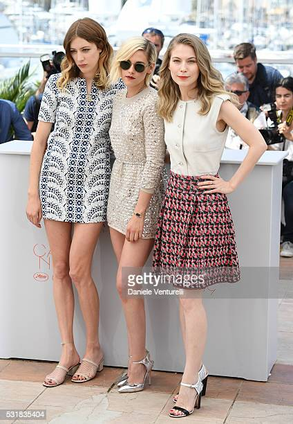 Actresses Sigrid Bouaziz Kristen Stewart and Nora von Waldstatten attend the 'Personal Shopper' photocall during the 69th annual Cannes Film Festival...