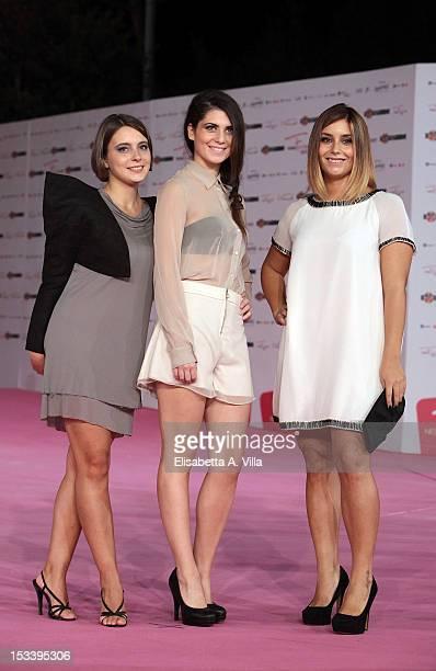 Actresses Silvia Alu Silvia Quondamstefano and Chiara Milani attend 'Youtuber$' premiere during the 2012 RomaFictionFest at Auditorium Parco della...