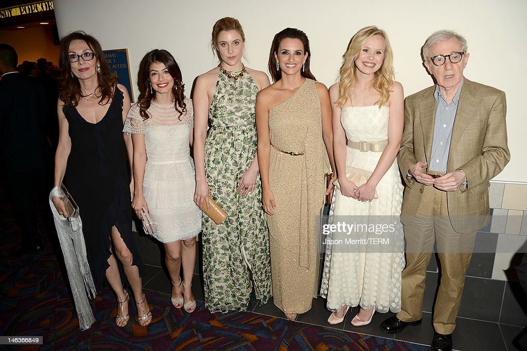Actresses Simona Caparrini, <a gi-track='captionPersonalityLinkClicked' href=/galleries/search?phrase=Alessandra+Mastronardi&family=editorial&specificpeople=4123541 ng-click='$event.stopPropagation()'>Alessandra Mastronardi</a>, <a gi-track='captionPersonalityLinkClicked' href=/galleries/search?phrase=Greta+Gerwig&family=editorial&specificpeople=4249808 ng-click='$event.stopPropagation()'>Greta Gerwig</a>, Penelope Cruz, <a gi-track='captionPersonalityLinkClicked' href=/galleries/search?phrase=Alison+Pill&family=editorial&specificpeople=585936 ng-click='$event.stopPropagation()'>Alison Pill</a>, and director/producer <a gi-track='captionPersonalityLinkClicked' href=/galleries/search?phrase=Woody+Allen&family=editorial&specificpeople=202886 ng-click='$event.stopPropagation()'>Woody Allen</a> attend Film Independent's 2012 Los Angeles Film Festival Premiere of Sony Pictures Classics' 'To Rome With Love' at Regal Cinemas L.A. LIVE Stadium 14 on June 14, 2012 in Los Angeles, California.