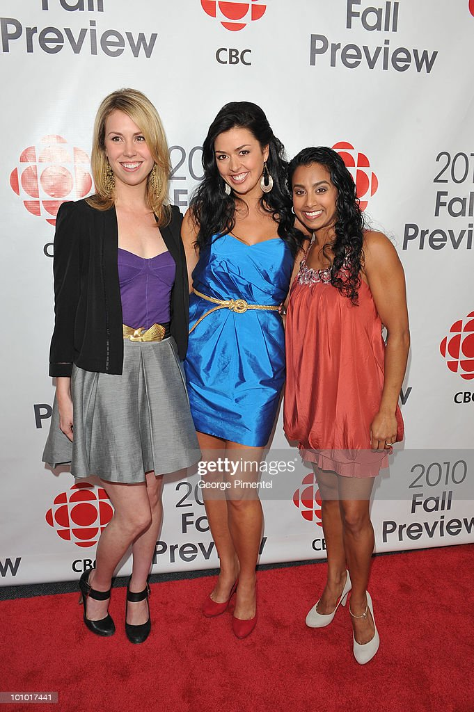 Actresses Siobhan Murphy, Aliyah O'Brien and Glenda Braganza attend CBC Television 2010 Fall Preview at the CBC Broadcast Centre on May 27, 2010 in Toronto, Canada.